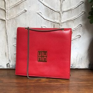 Vintage red purse with attached coin purse